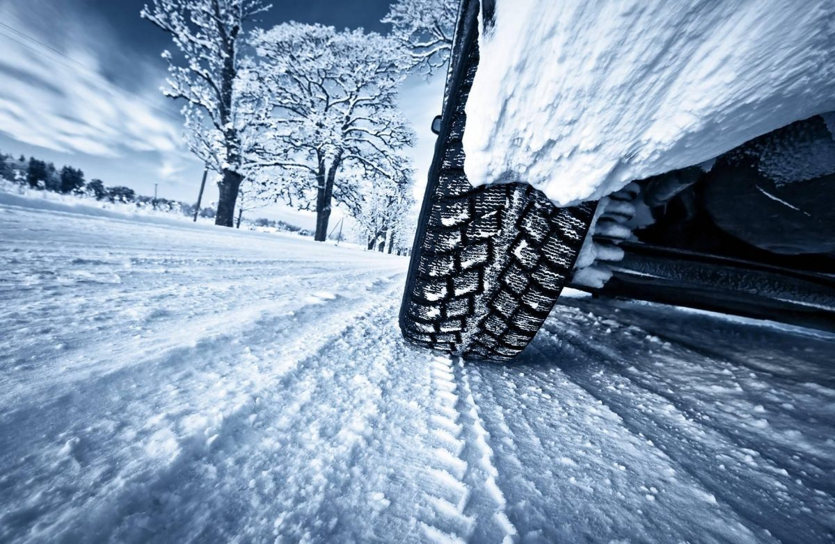 a winter driving scene