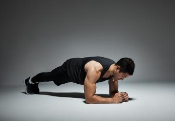 a man doing a plank